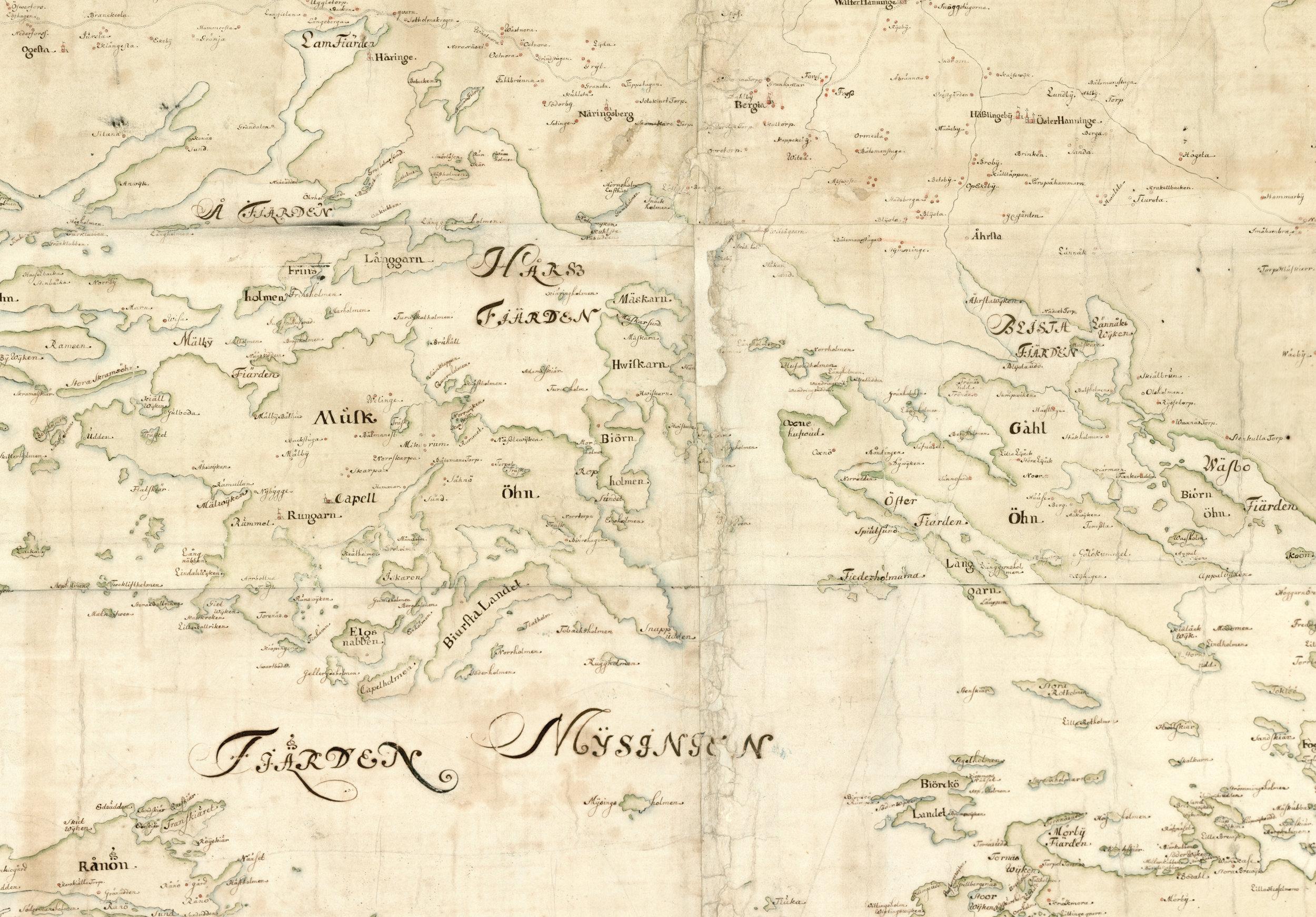 Gålö, Muskö samt närliggande öar och fastland på Carl Gripenhielms skärgårdskarta från 1690-talet. Väderstrecken är förvridna.