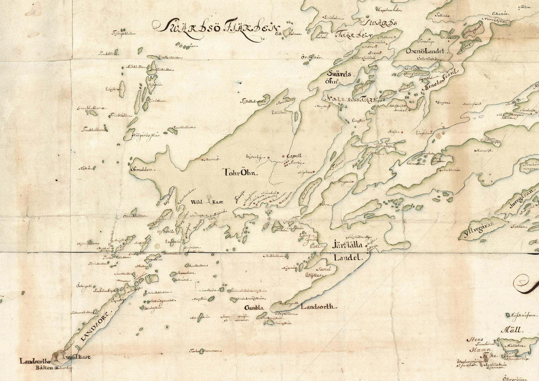 Oja, Torö och angränsande öar och områden på Carl Gripenhielms skärgårdskarta från 1690-talet. Väderstrecken är förvridna.