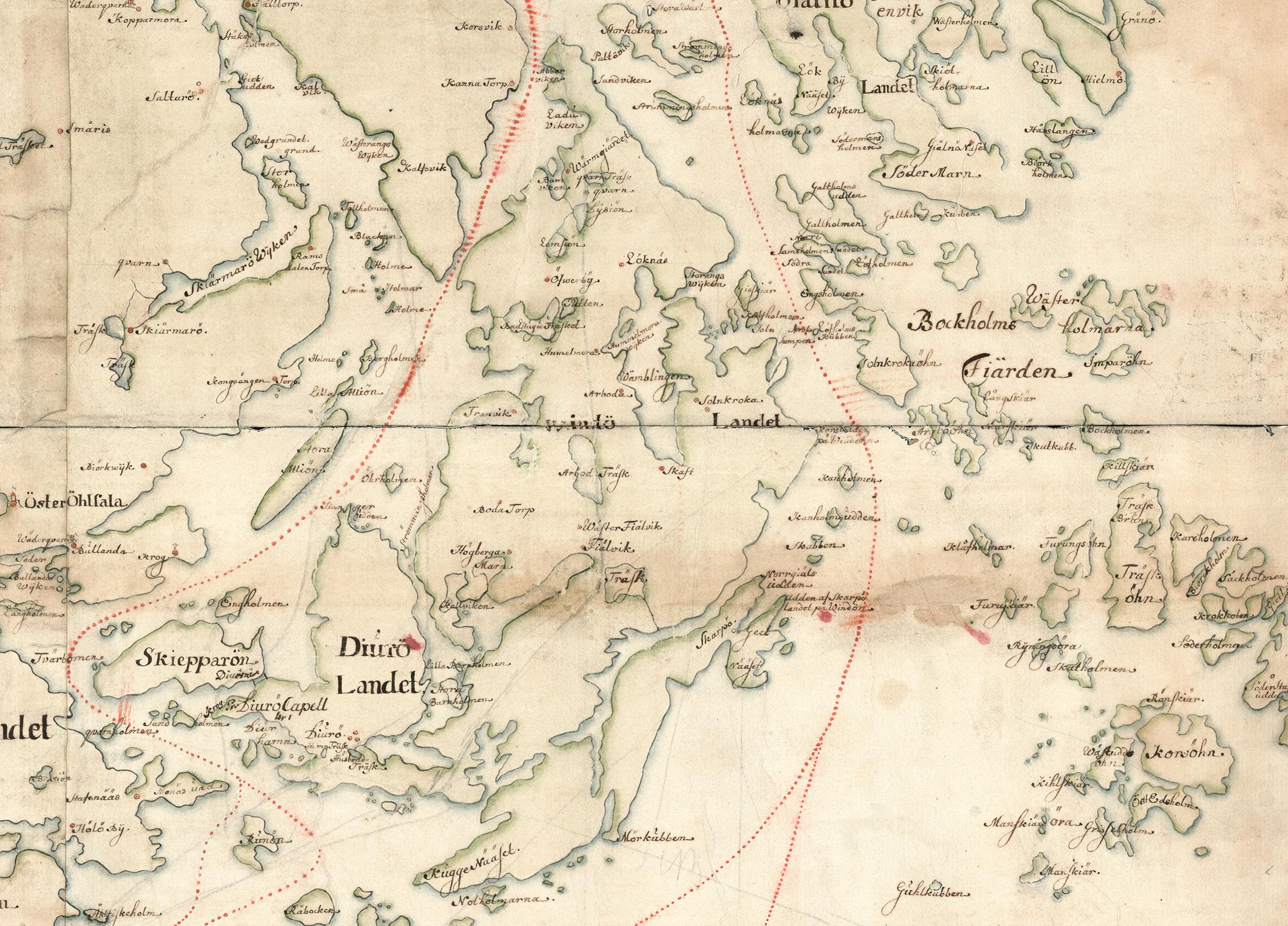 Vindö på Carl Gripenhielms skärgårdskarta från 1690-talet. Tyvärr är den ursprungliga stora kartan styckad i bitar, bilden ovan är en sammansättning. Väderstrecken är förvridna.