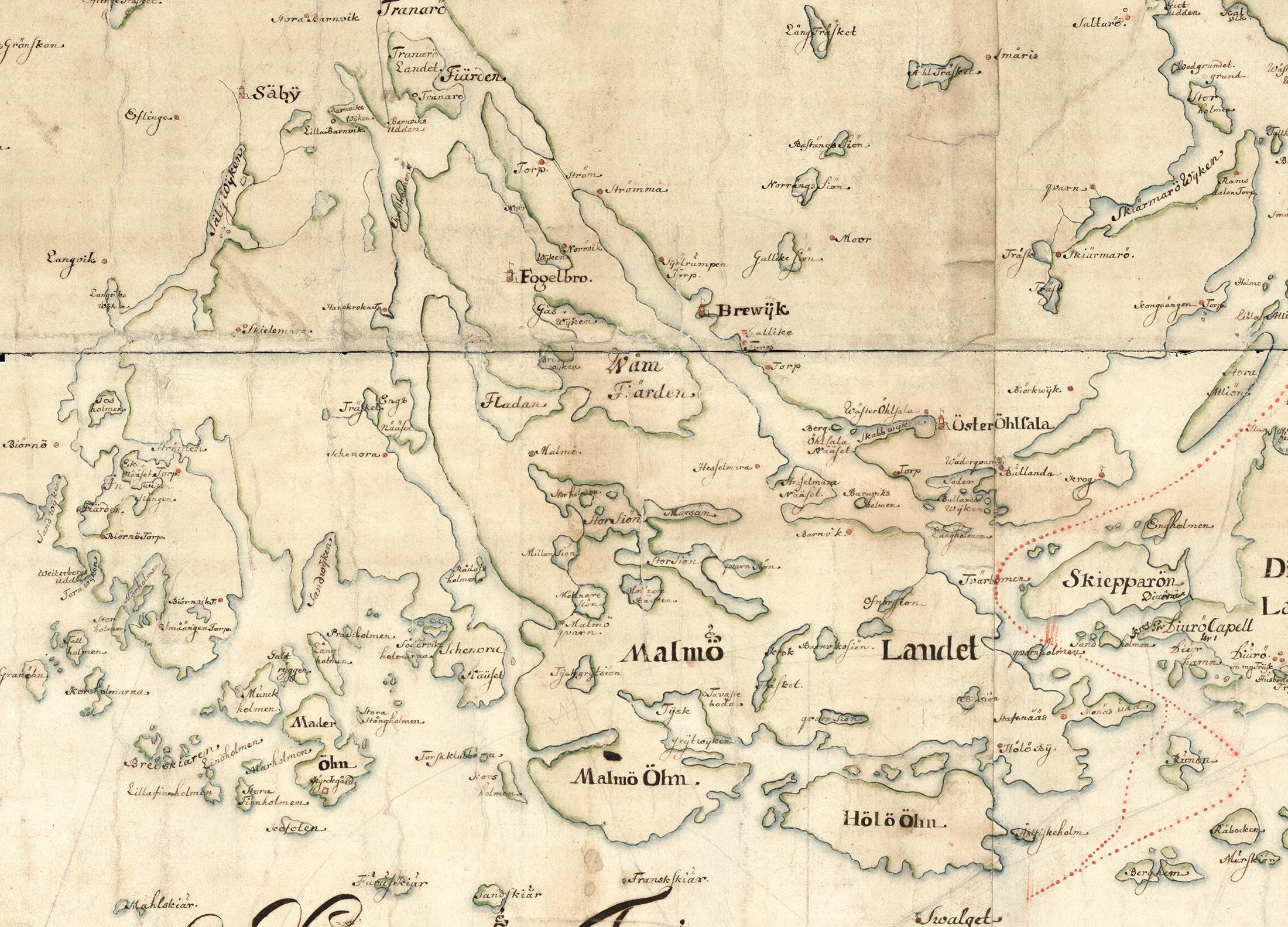 Fågelbrolandet – eller Malmölandet som det kallades fram till mitten av 1700-talet – på Carl Gripenhielms skärgårdskarta från 1690-talet. Kartan är tyvärr styckad i olika delar, bilden ovan är ett montage. Väderstrecken är förvridna.