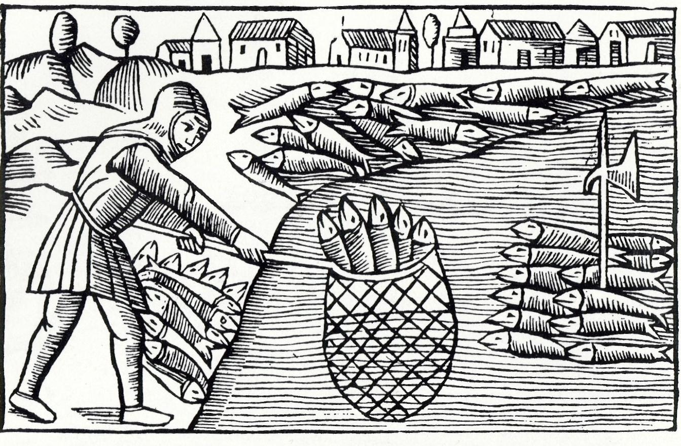 """Fiskare med håv, De Nordiska folkens historia"""" av Olaus Magnus, kap. 28. Historiska museet"""