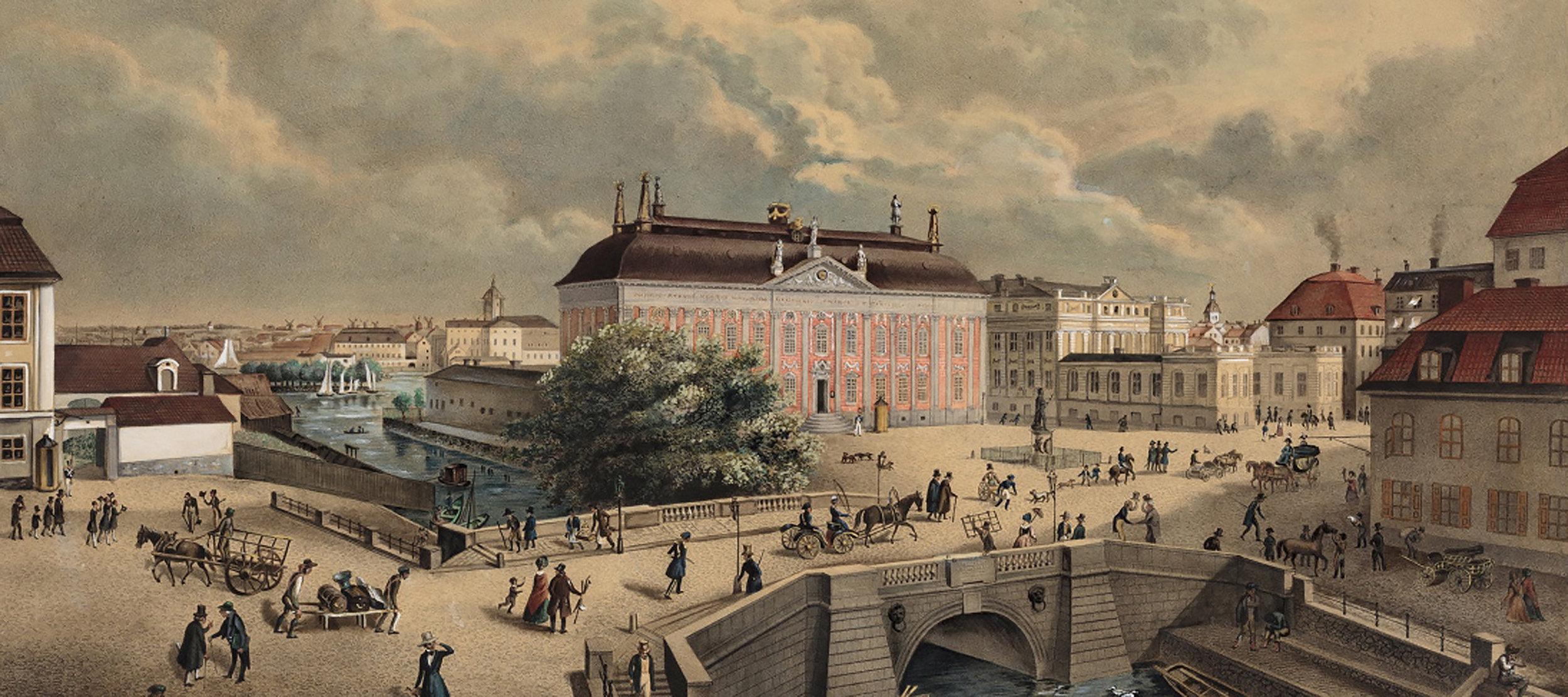Riddarhuset i Gamla stan byggdes på initiativ av Axel Oxenstierna på 1600-talet för att samla och organisera adeln. Det låg mitt emellan slottet och Riddarholmen, där adelspalatsen byggdes. Målning av Ferdinand Tollin 1841. Stadsmuseet.