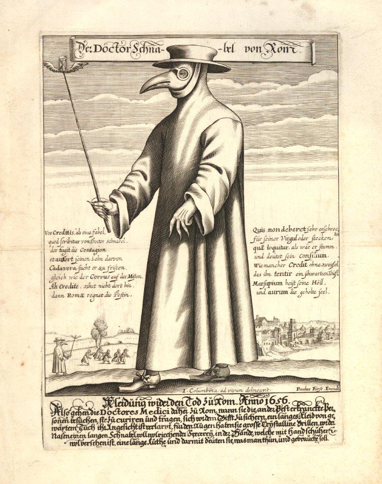 Doctor Schnabel von Rom, illustration av en läkare klädd i skyddande utrustning. Bilden beskriver en läkare i Italien men publicerades i Nürnberg 1656 av Paulus Fürst. British Museum.