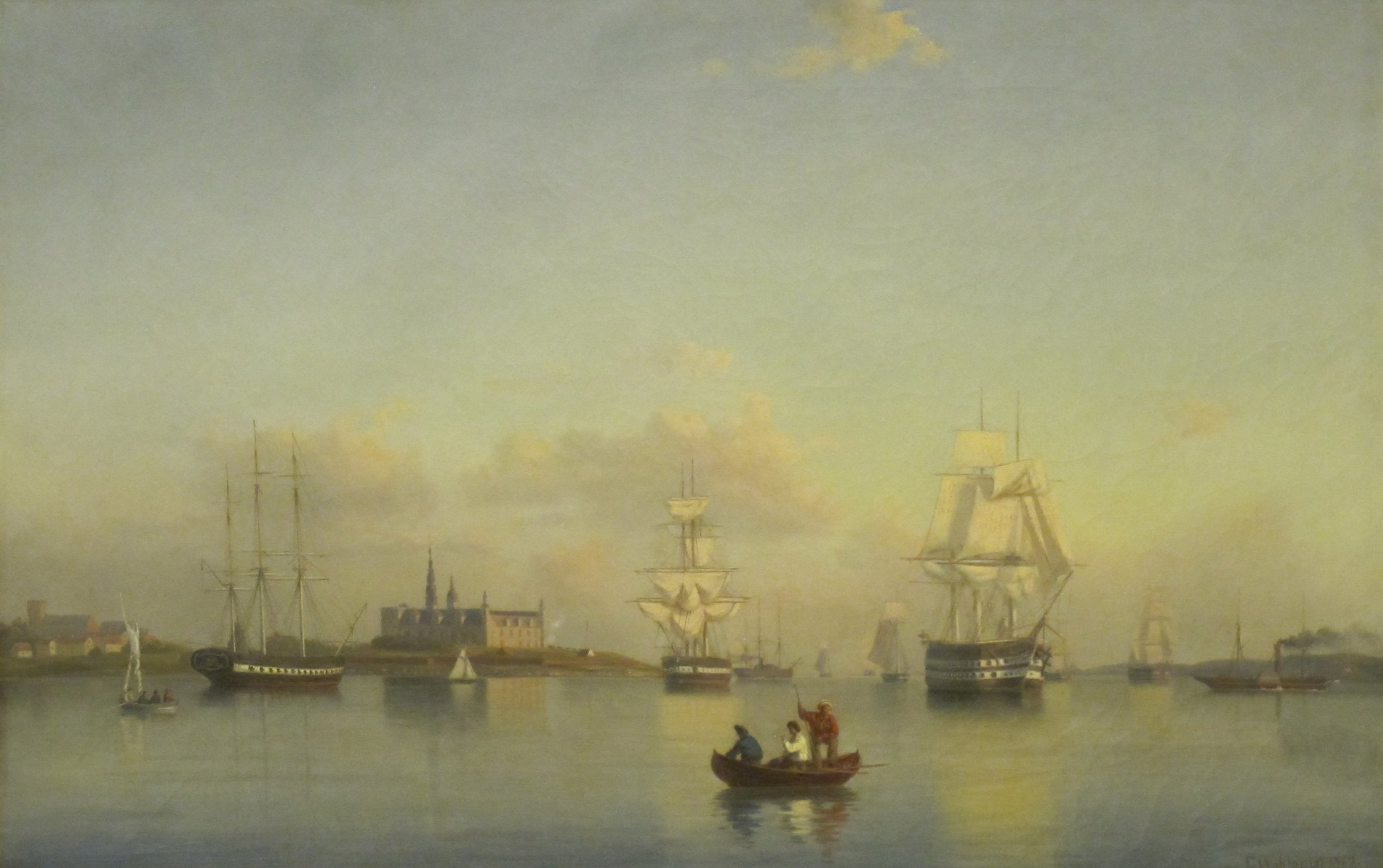 Örlogsfartyg i stiltje vid Kronborg. Ehrenfried Wahlqvist, 1862. Sjöfartsmuseet.