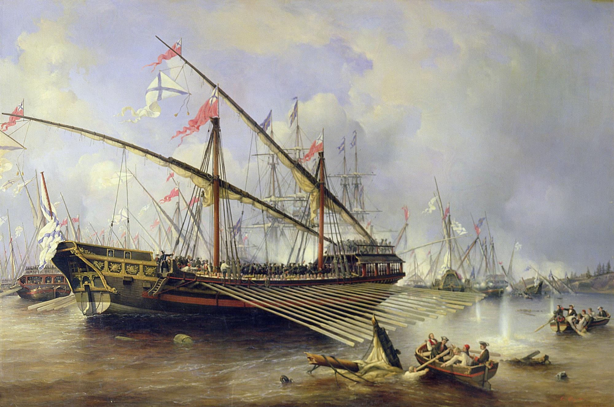 Ferdinand Victor Perrots målning av en större rysk galär vid slaget i Föglöfjärden 1720. Målningen utfördes i början av 1800-talet. Marinmuseum i Sankt Petersburg.