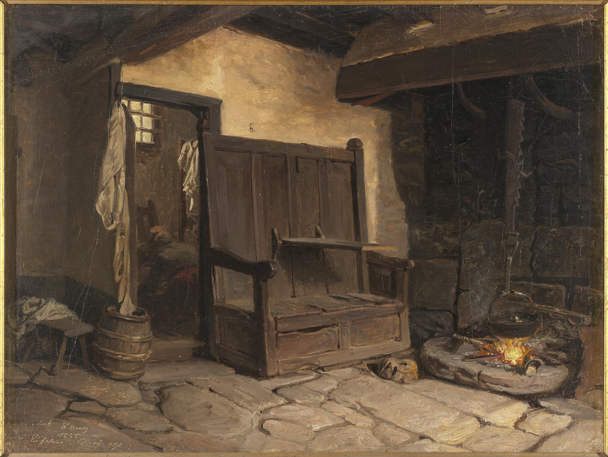 Inredningen i de flesta bostäder var enkel och bestod av väggfasta bänkar. Elden och spisen var husets hjärta. Denna bild, En stuginteriör, målades på 1800-talet av Wilhelm Wallander men ger ändå en bild av knappheten. Nationalmuseum.