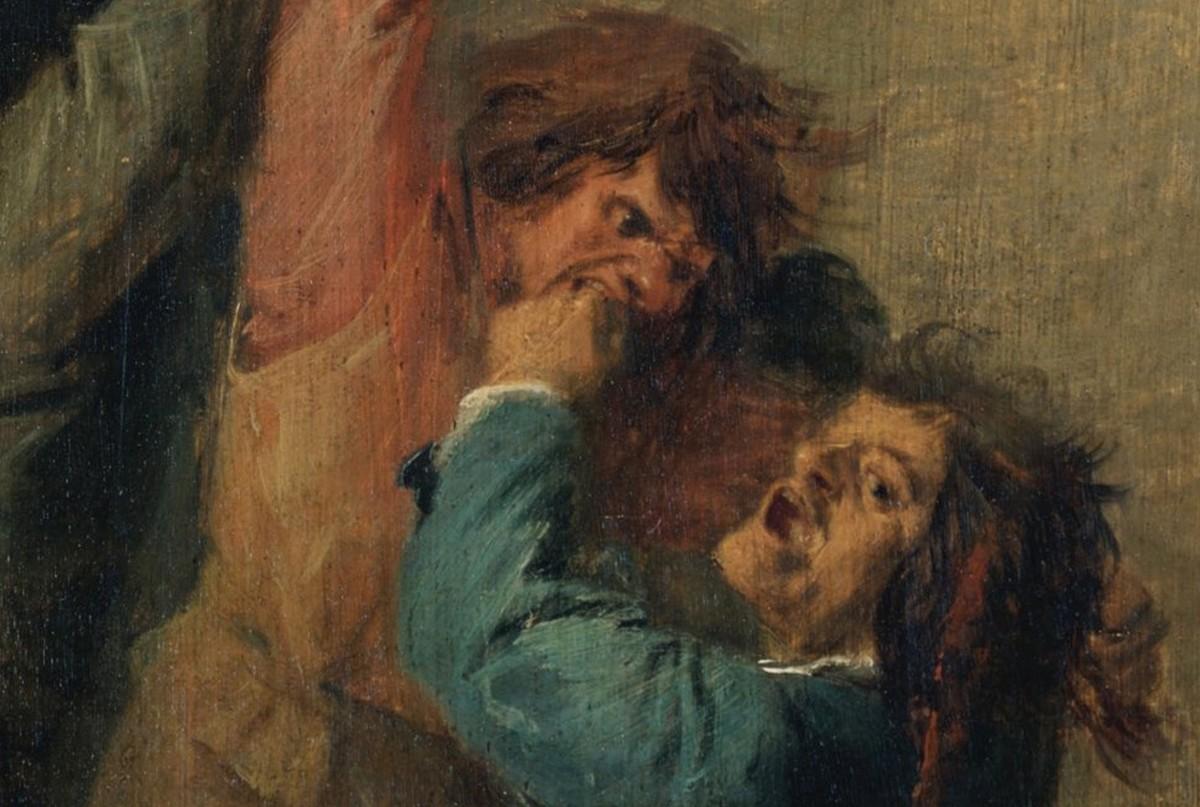 Tre män som slåss på en krog, Adriaen Brouwer, cirka 1630. Public domain