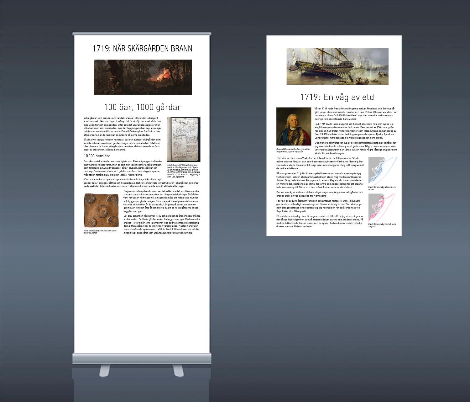 På länkarna till höger om bilden kan du ladda ner original som du enkelt kan skicka till en tryckare för att göra Rollups eller affischer till en egen utställning om 1719.