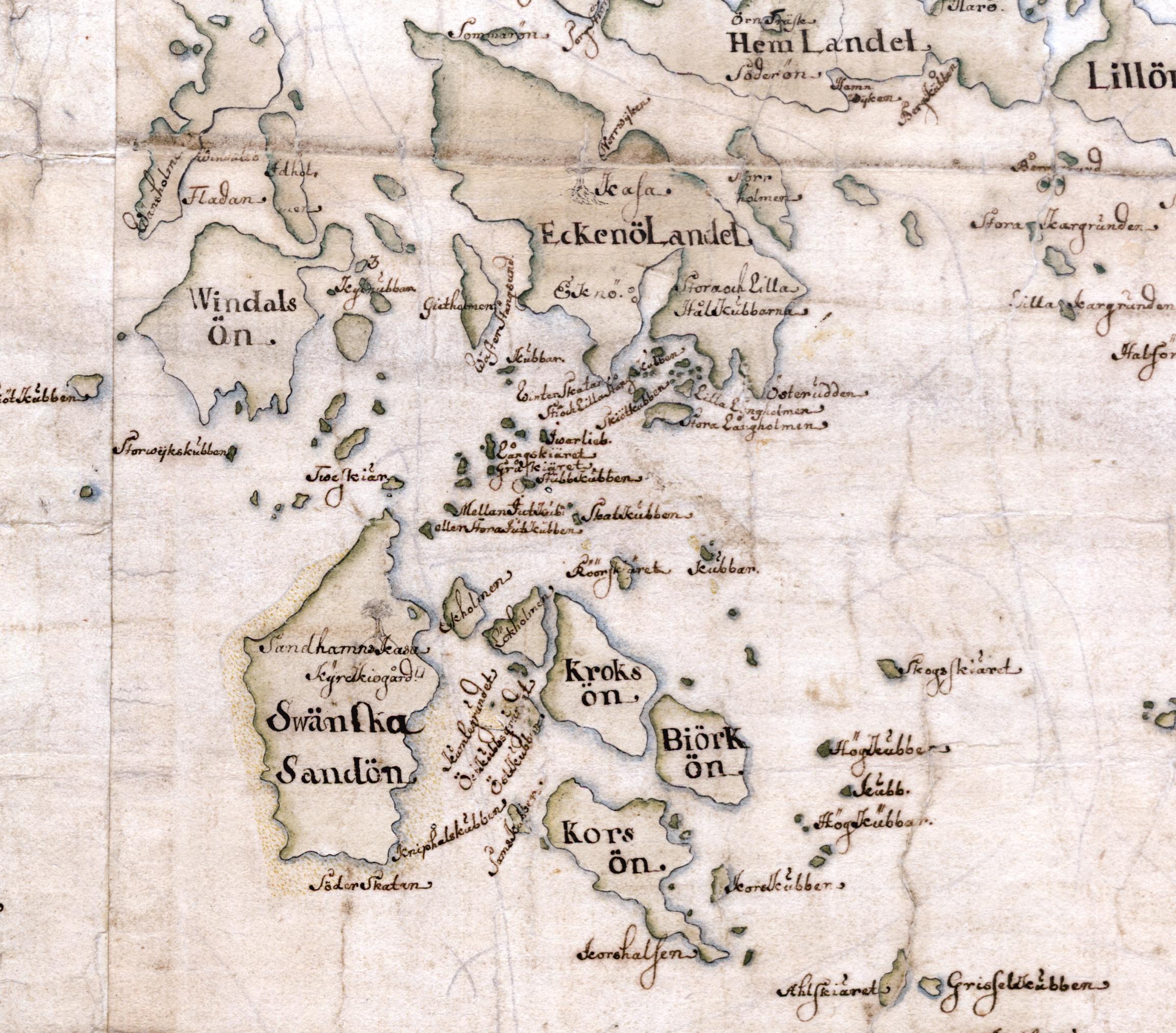 Eknö, Vindalsö och Sandhamnsområdet på Carl Gripenhielms skärgårdskarta från 1690-talet. Väderstrecken är förvridna.