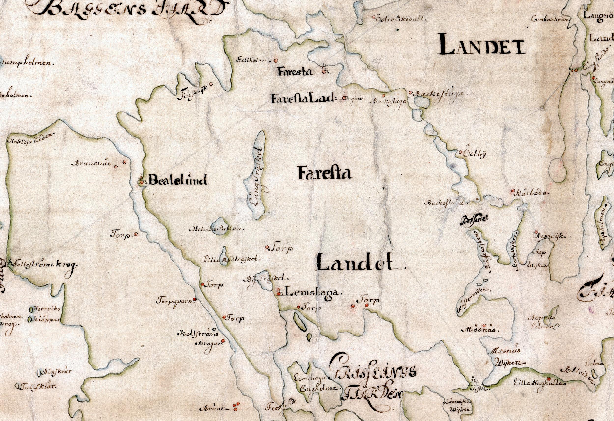 Den ryska galärflottan angrep västra Farstalandet den 15 juli medan östra delen skonades eftersom de ryska fartygen aldrig kom in i Grisslingefjärden eller Torsbyfjärden. Detalj av Carl Gripenhielms skärgårdskarta från 1690-talet. Väderstrecken är förvridna.