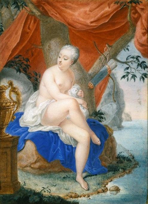 Hedvig Ulrica Taube (1714-44) som Diana, riksgrevinna von Hessenstein. Porträtt av Gust. Thorsell 1736, Nationalmuseum.