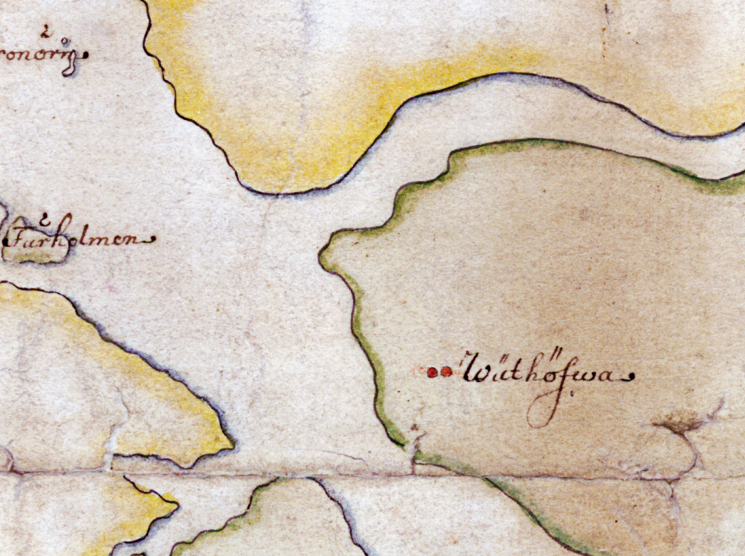 Korsningen mellan Norrtäljeviken, Vätösundet och Hattsundet på Carl Gripenhielms skärgårdskarta från 1690-talet. Ilsholm ligger på kartans övre del, i det gula fältet.