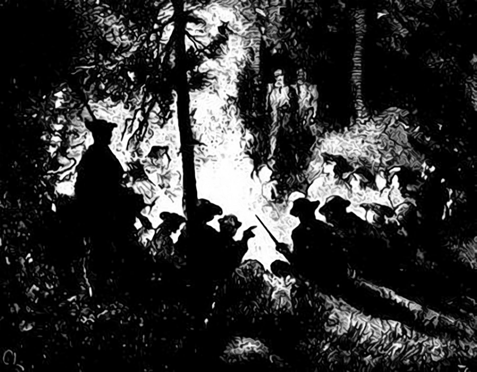 Partigängare runt lägerelden, illustration av Carl Larsson ur Fältskärns berättelser.