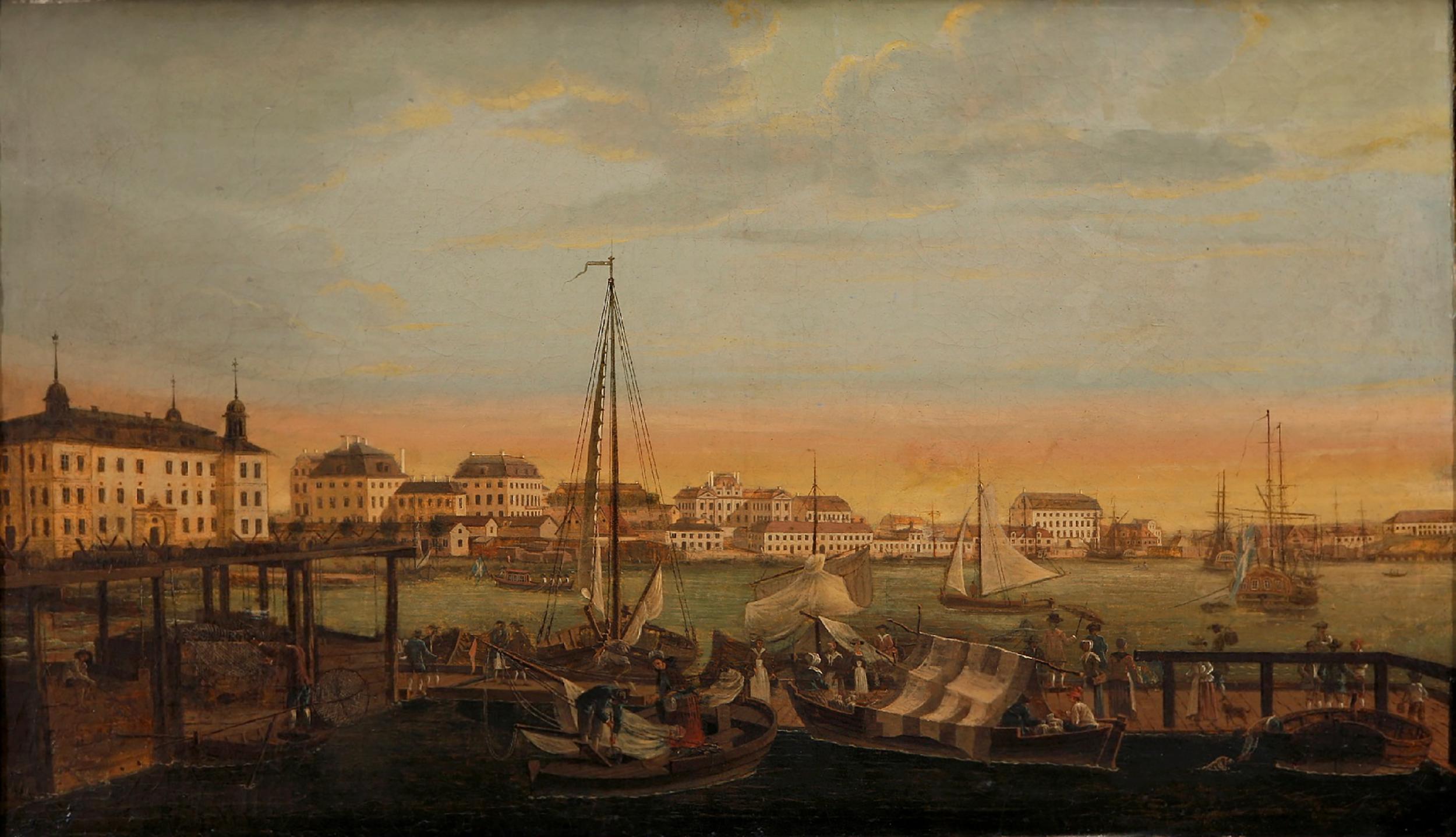 Utsikt åt öster från Norra fiskehamnen, där Strömparterren ligger idag. Byggnaden längst till vänster är De la Gardies palats Makalös vid Karl XII:s torg, till höger om det syns palatsen på Blasieholmen. Johan Sevenbom, cirka 1750