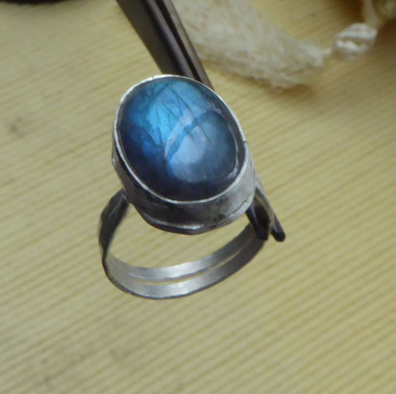 One of my First Labradorite Rings (Not Yet Polished)