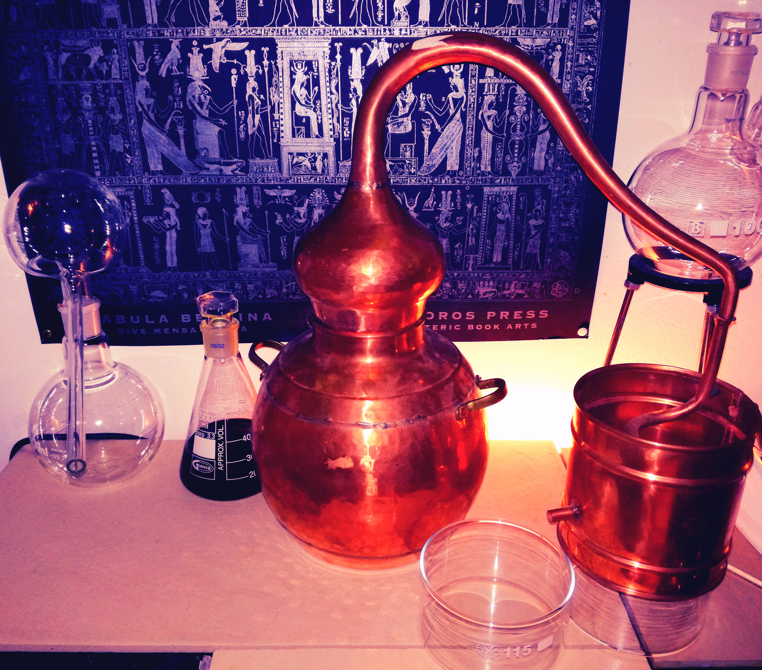 My lovely copper alembic still for small batches of artisan crafted essential oil distillations! This one is used for Water-Distillations. I also have equipment for Steam-Distillation.