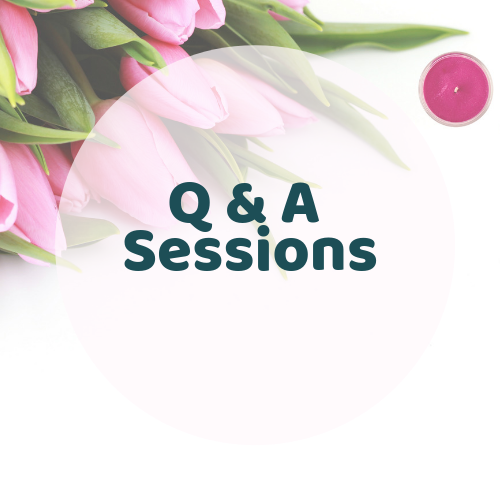 Kay gives Q & A sessions whenever she feels or you feel there is a need.