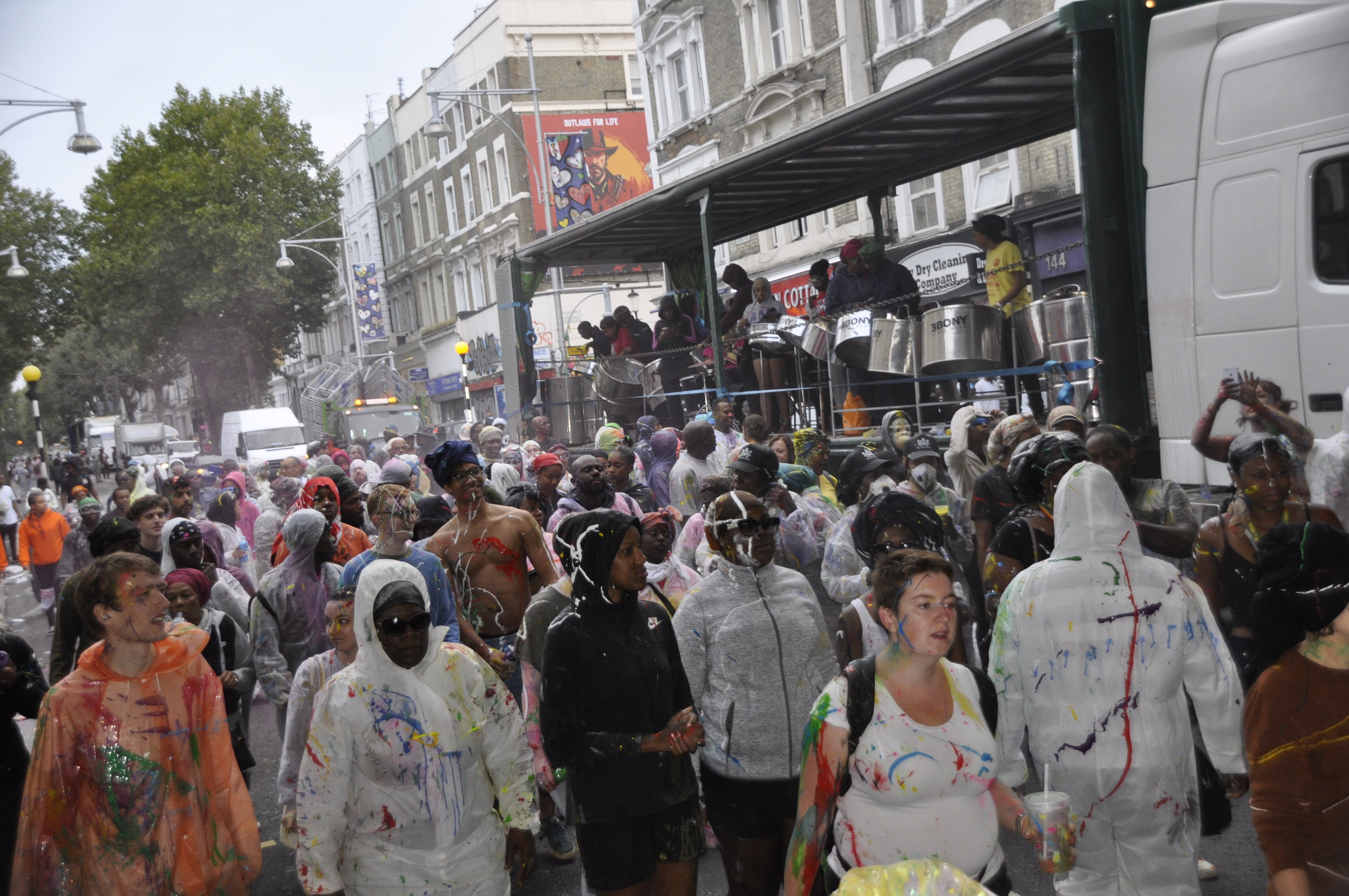 Ebony Steel Band entertaining the Notting Hill Jouvert 2018 Crowds