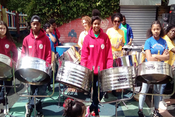 Saffron performing with Pantonic Steel Orchestra