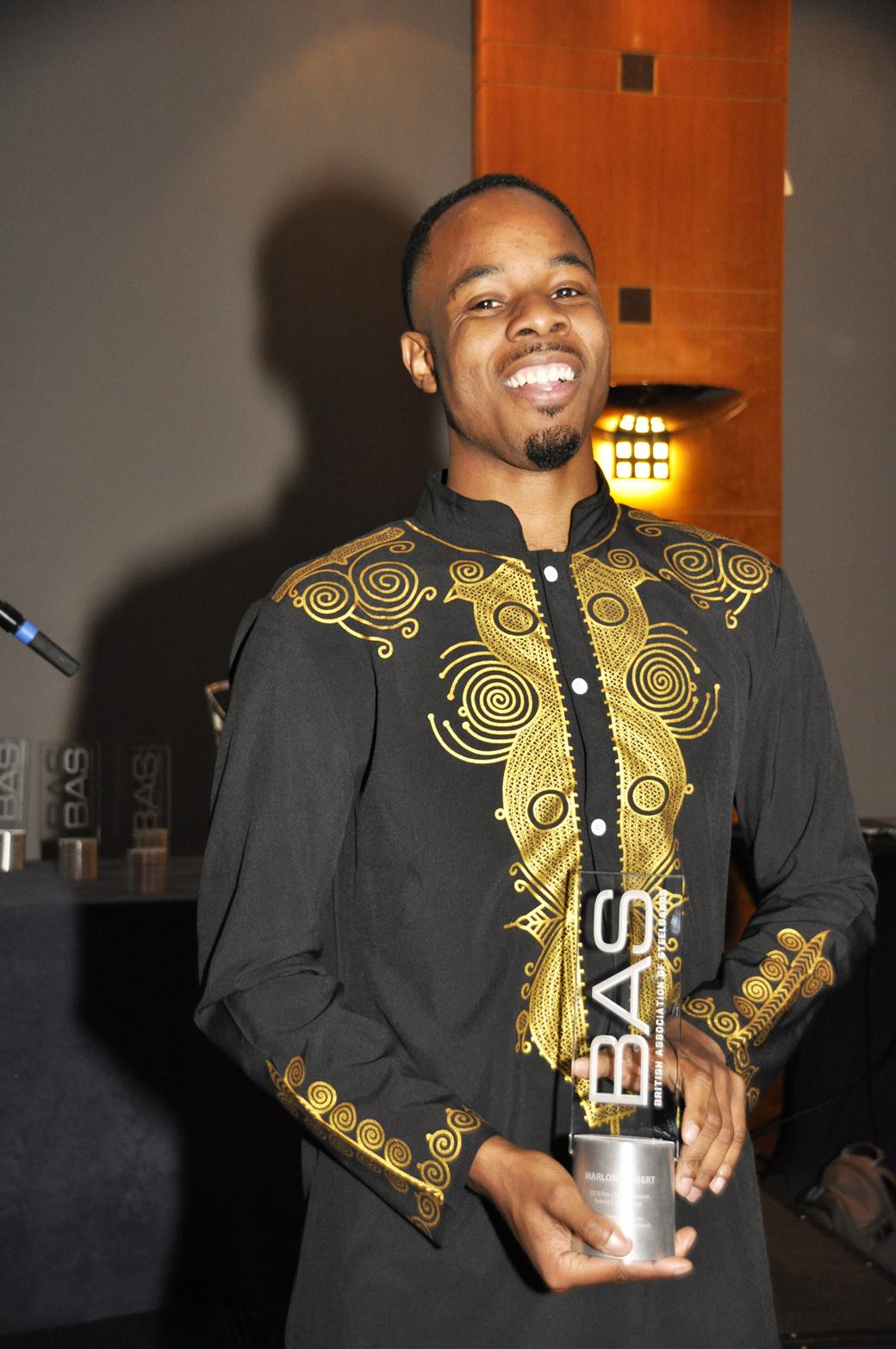 Marlon receiving his Pan Clash Award at the BAS Awards 2018.
