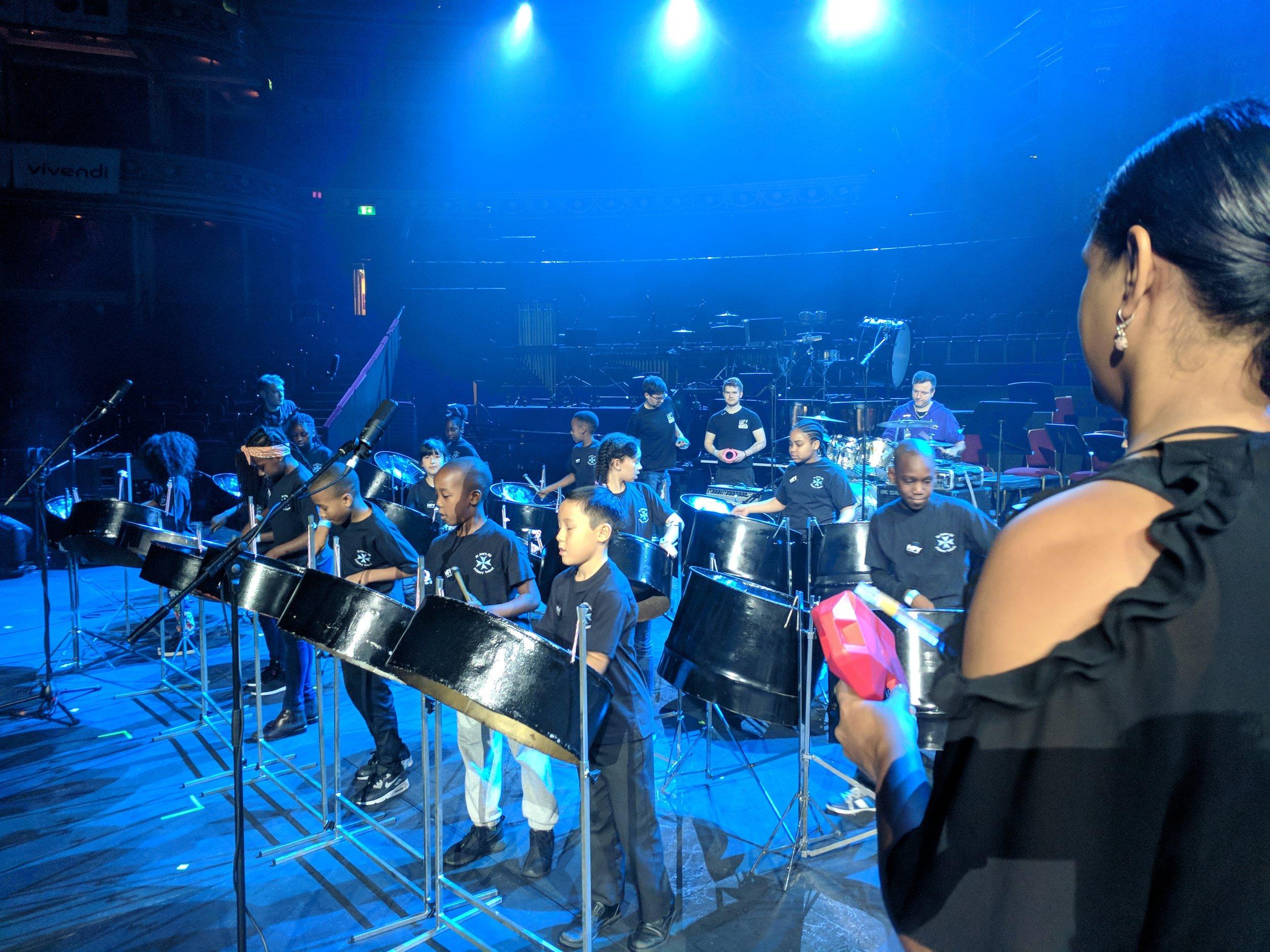 Alicia drilling the band.