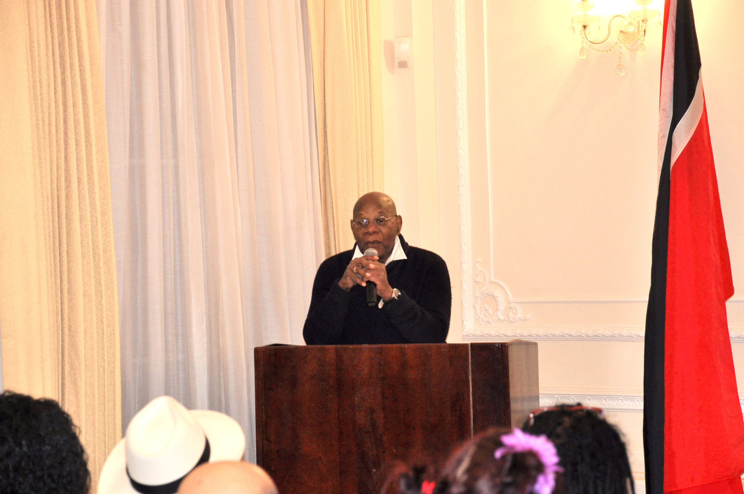 Sterling speaking at his book launch at the T&T High Commission.