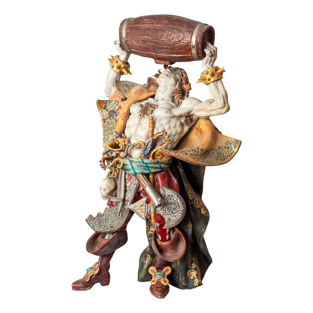 NR. 58, PERSEO,  HANDPAINTED TERRACOTTA STATUE: THE PIRATE COLLECTION, 25x44cm, TUSCANY, 70's