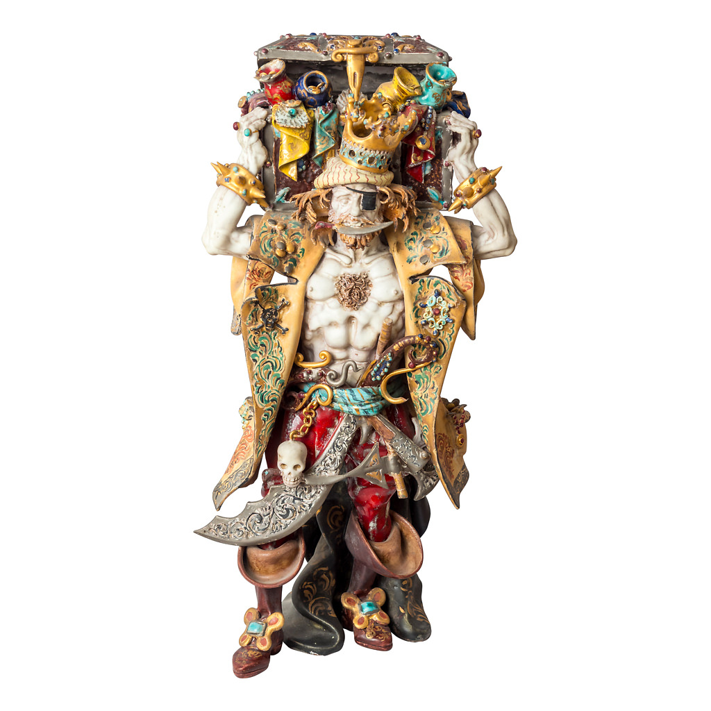 NR. 59, PERSEO,  HANDPAINTED TERRACOTTA STATUE: THE PIRATE COLLECTION, 22x47cm, TUSCANY, 70's