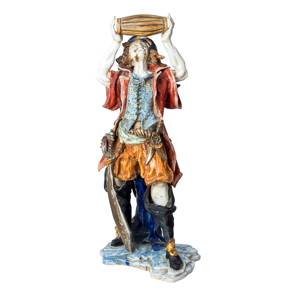 NR. 64, PERSEO, HANDPAINTED TERRACOTTA STATUE: THE PIRATE COLLECTION, 22x54cm, TUSCANY, 70's