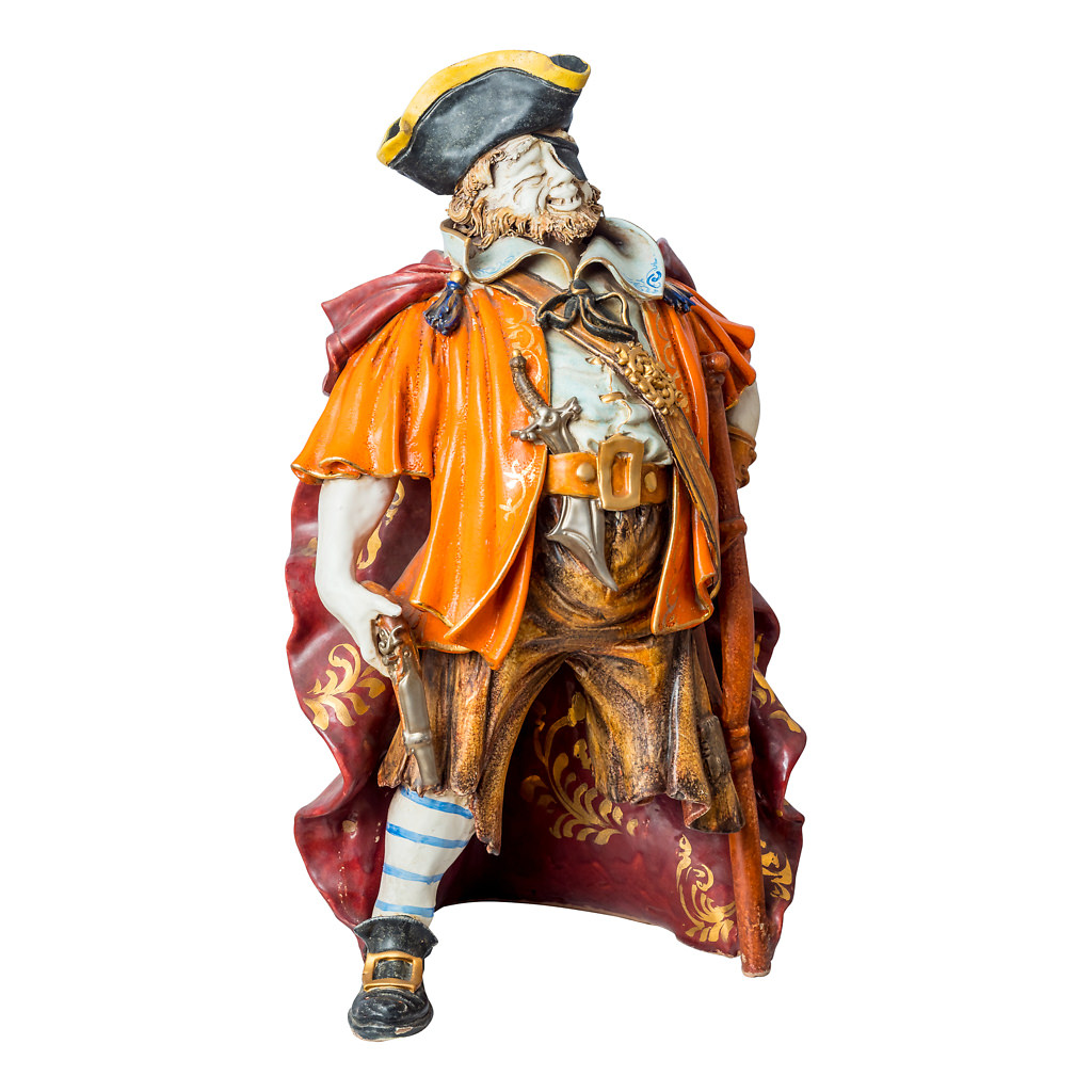 NR. 65, PERSEO, HANDPAINTED TERRACOTTA STATUE: THE PIRATE COLLECTION, 16x52cm, TUSCANY, 70's