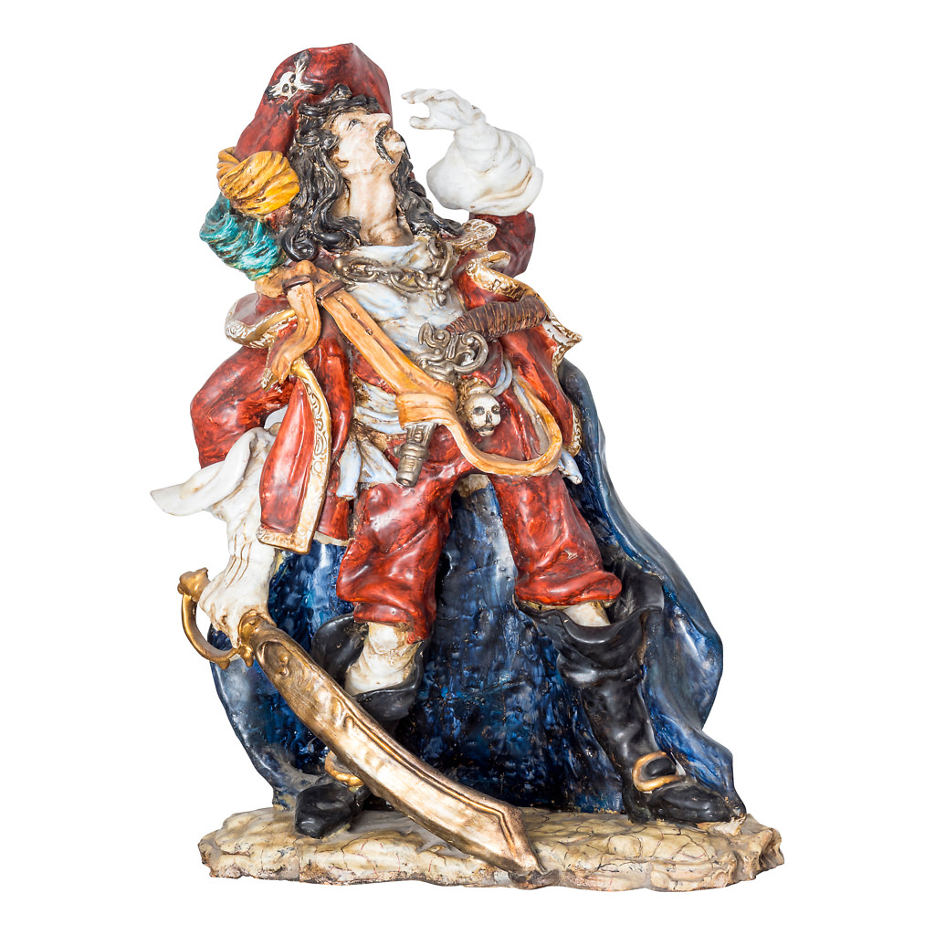 NR. 67, PERSEO, HANDPAINTED TERRACOTTA STATUE: THE PIRATE COLLECTION, 47x65cm, TUSCANY, 70's
