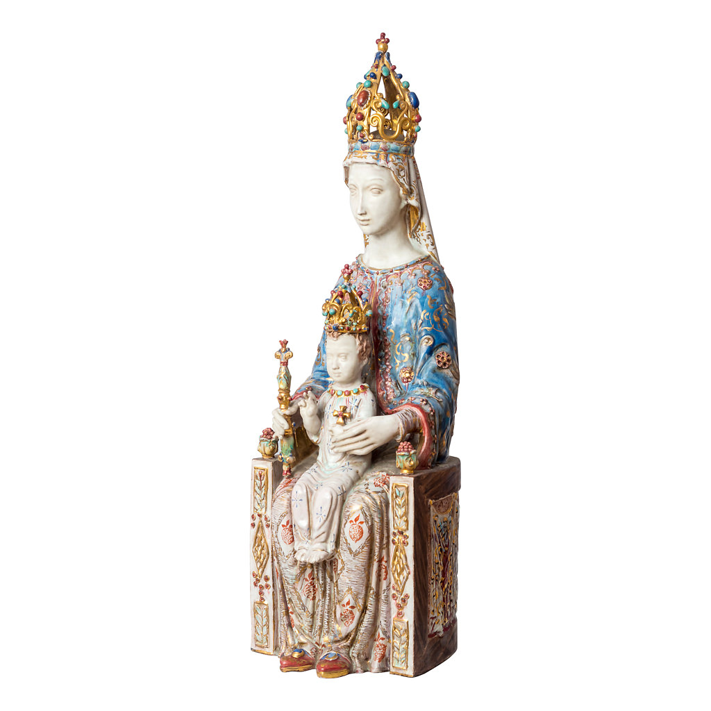 NR. 115, EUGENIO PATTARINO, MADONNA WITH JESUS  HAND PAINTED WITH GOLD (ONE OF A KIND PIECE), 20x60cm, TUSCANY, 50's
