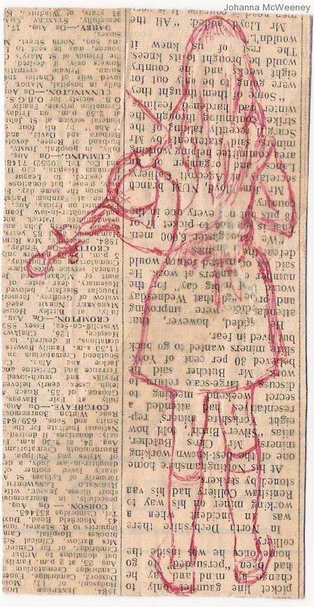 The little girl in these paintings drawn in red represents a drawing my grandmother did of me, bold, in red biro on a piece of newspaper (the obituary column. I was 5 and I was playing the violin.
