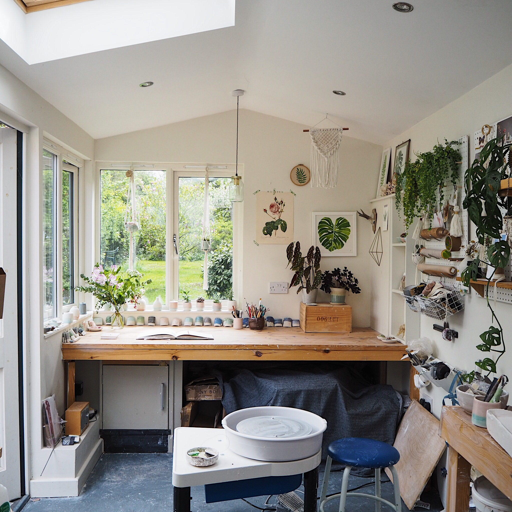 Studio of Kt Robbins Ceramics - i love being able to see my garden and listen to the birds singing as I work.