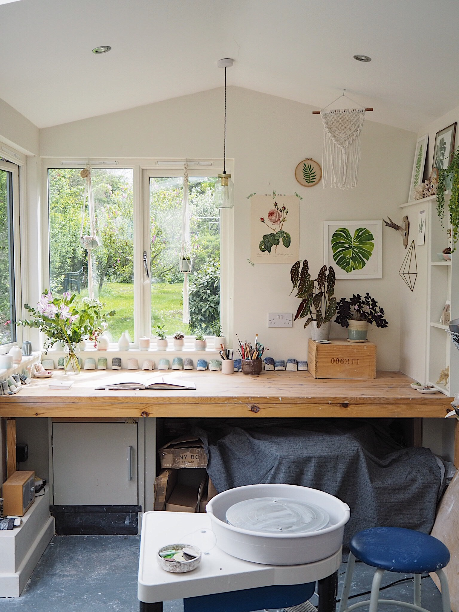 A garden studio filled with plants and flowers for extra inspiration - Kt Robbins Ceramics