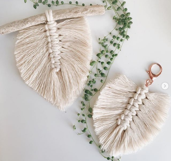 Contemporary feather macrame hangings/charms