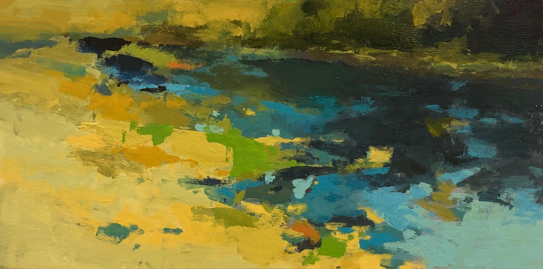 """Riverwalk,  12"""" x 24"""", oil on panel, 2019."""