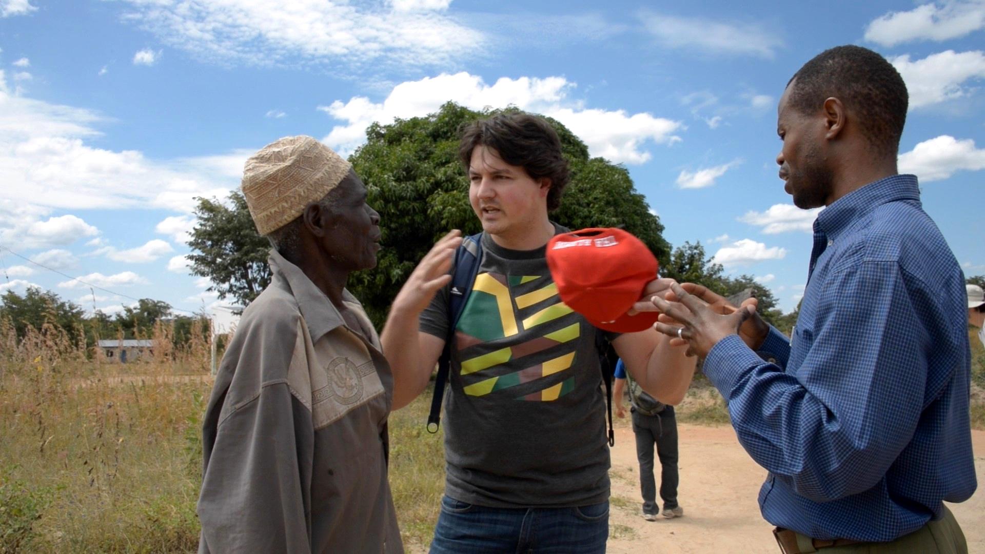 Team leader Daniel Kooman with local guide Moses Ndago and village elder MP in Tanzania