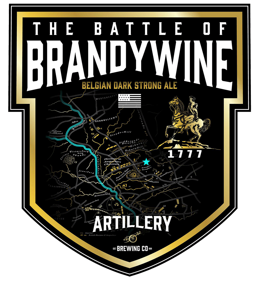 The Battle of Brandywine - Just like its historic inspiration, this ale is memorable and significant. Taking much from the land, the Battle of Brandywine is an alchemist's mingling of grape and grain: Cabernet Franc grape must is cultivated in a dance with a grain bill that elicits flavors of dark plum and raisin, all topped off with artisanal Belgian chocolate shavings to blend in luxurious smoothness. Its subtlety leaves the imbiber not knowing exactly what they're detecting... but it's very good, and the result is a delight to the palate.BELGIAN DARK STRONG ALE - 9.0%ABV