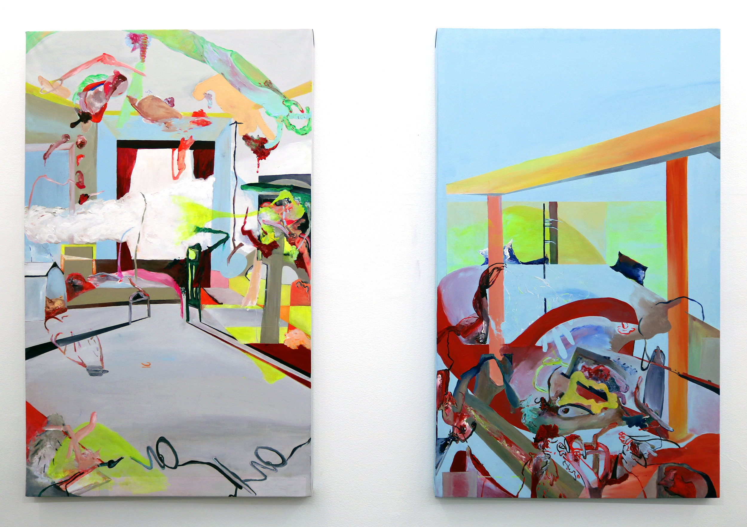 'Special Relativity', a set of 2 paintings, acrylic on canvas, 120 x 80 cm each, 2015.