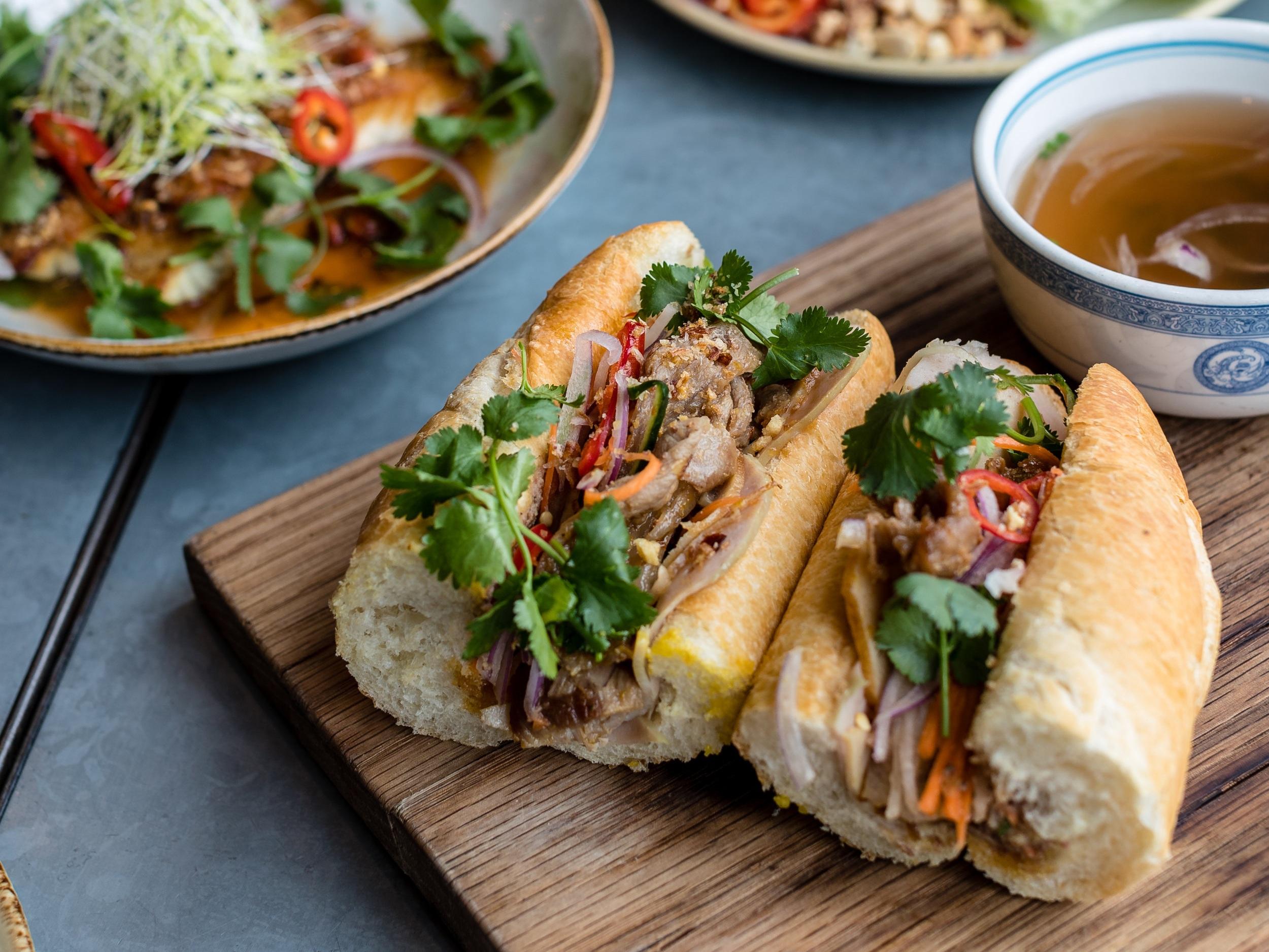 Banh Mi Sandwich with Pho Soup