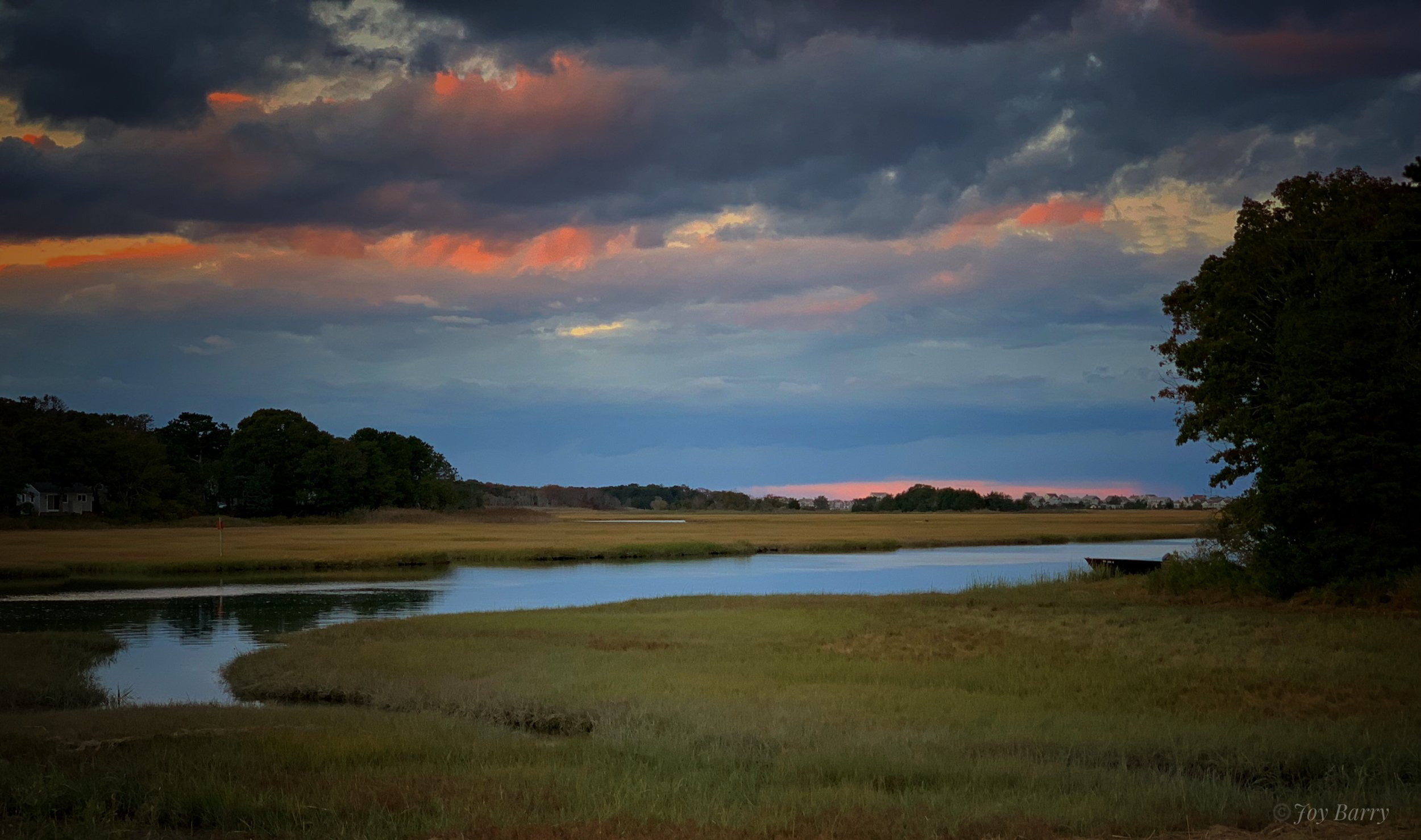 January 13, 2019 - Sunset over Scorton Creek in East Sandwich, Massachusetts.