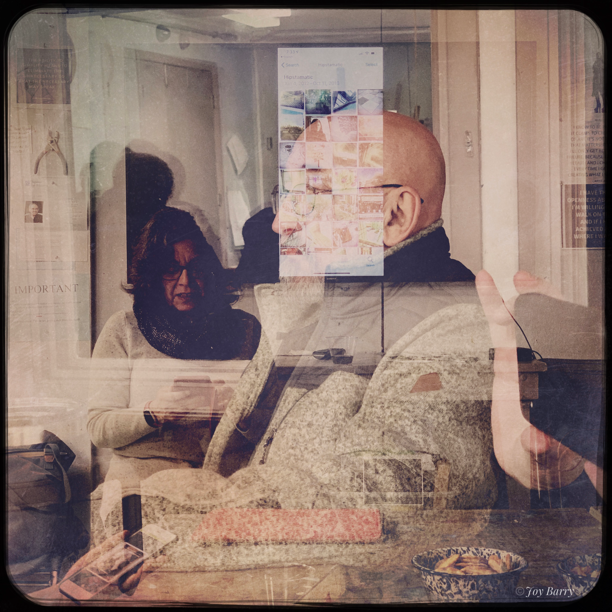April 2, 2019 - Having fun learning Hipstamatic (a camera replacement app) with Barbara Braman at tonight's meeting of the Digital Arts Group at Cape Cod Arts Center!