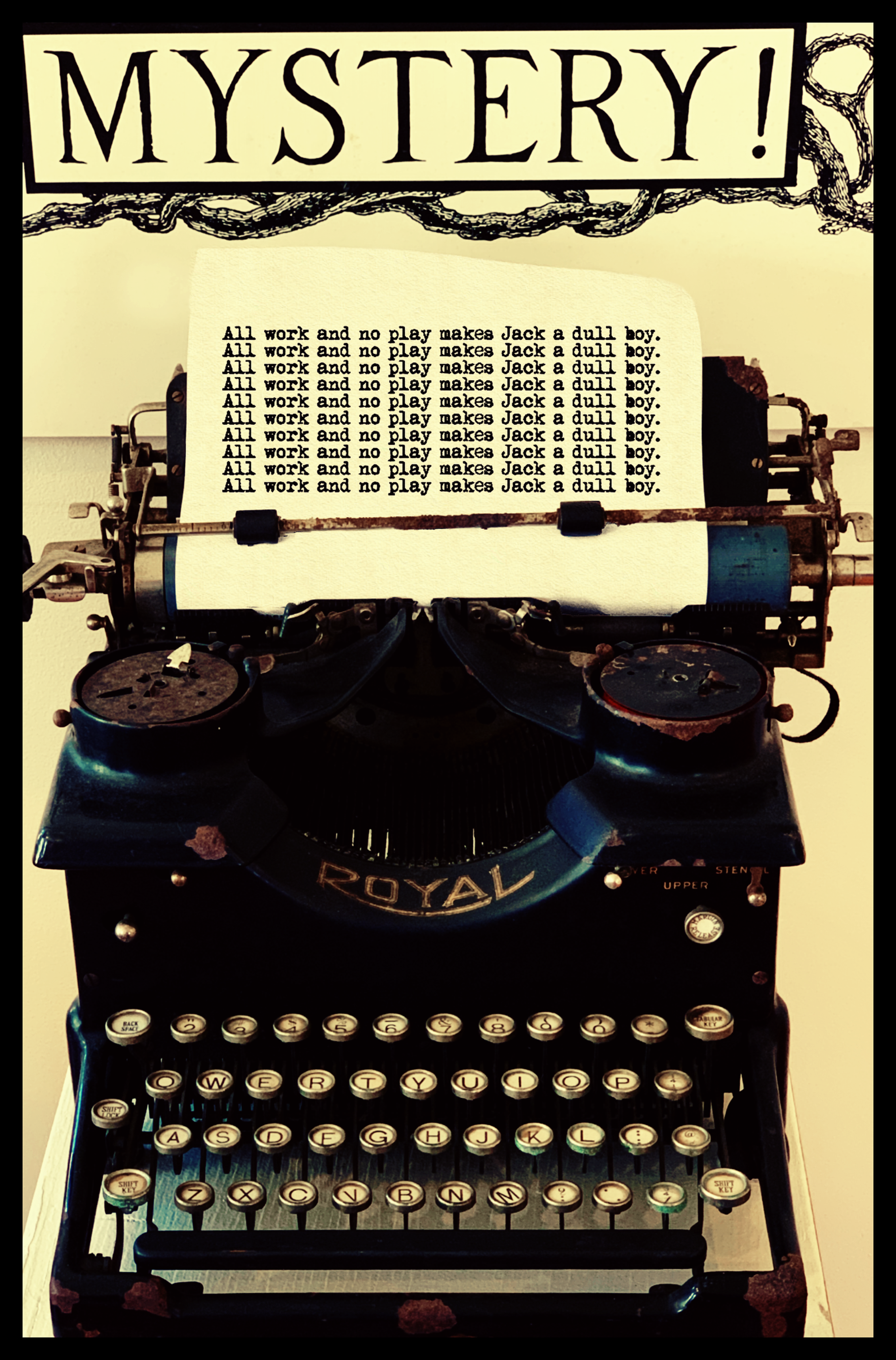 """April 20, 2019 - Writer's Block. [Photo taken at the Edward Gorey House in Yarmouth, Massachusetts; typed words from """"The Shining"""" by Stephen King.]"""