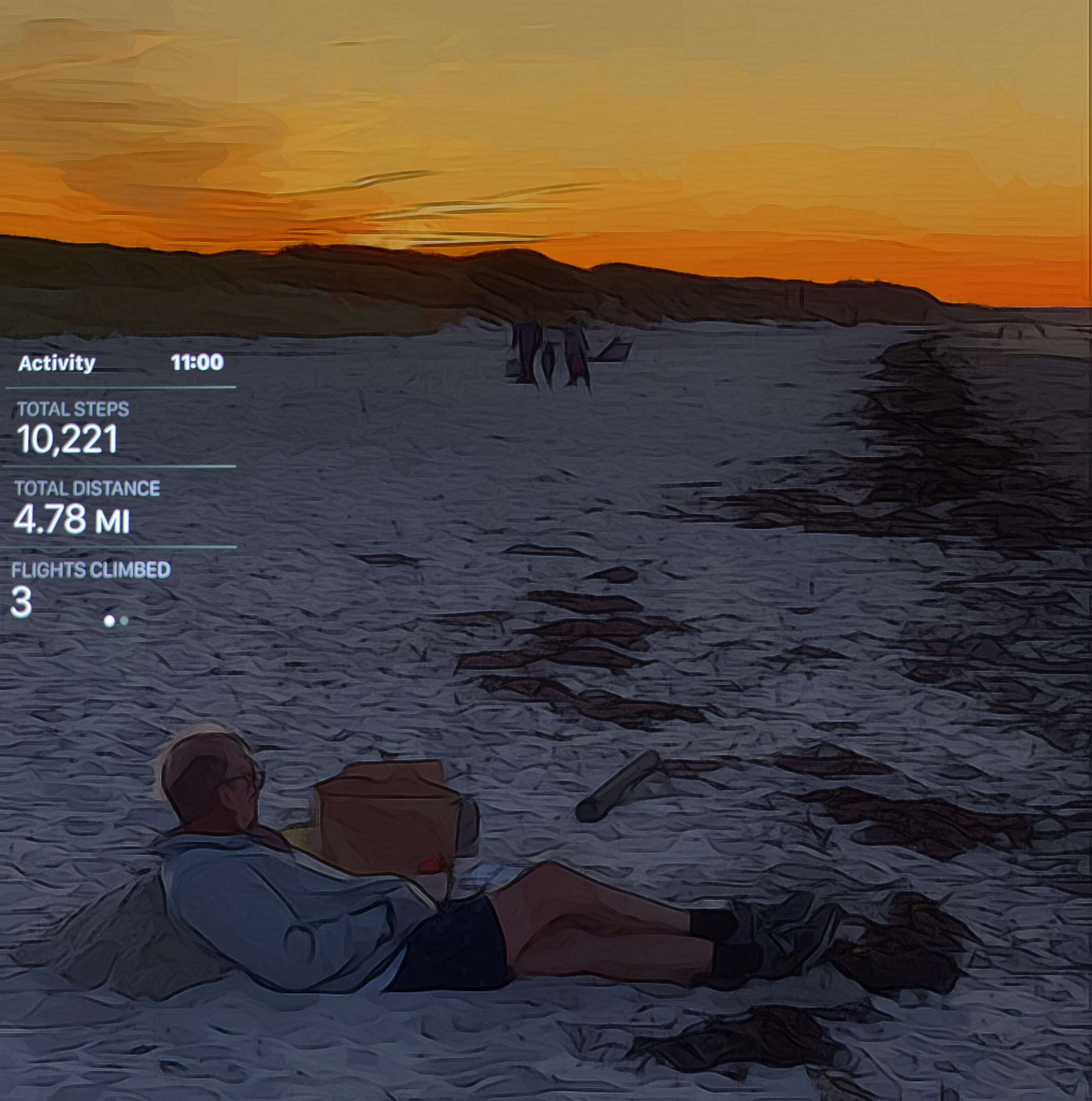 September 27, 2019 - I did it! I exceeded 10K steps after only 2 months post-op! Now, I feel like this guy: I need a nap and I don't care where I lay my head! 👍 [Image taken at sunset tonight at Sandy Neck Beach; edited in iColorama.]