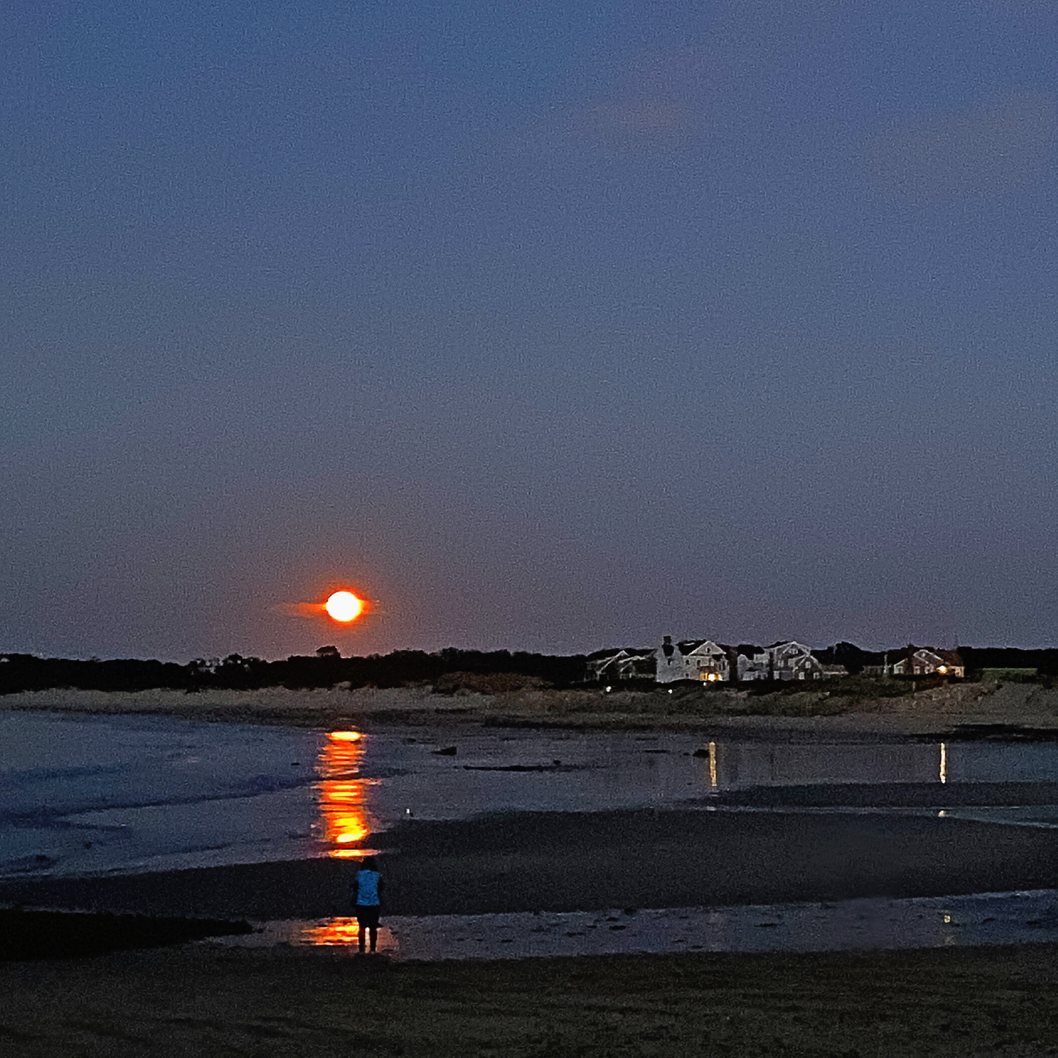 "October 13, 2019 - ""...I'm bein' followed by a moonshadow..."" (lyrics from the song ""Moonshadow"" by Cat Stevens; songwriter Yusuf Islam). Tonight's Hunter's Moon rise at Corporation Beach in Dennis, MA, USA."
