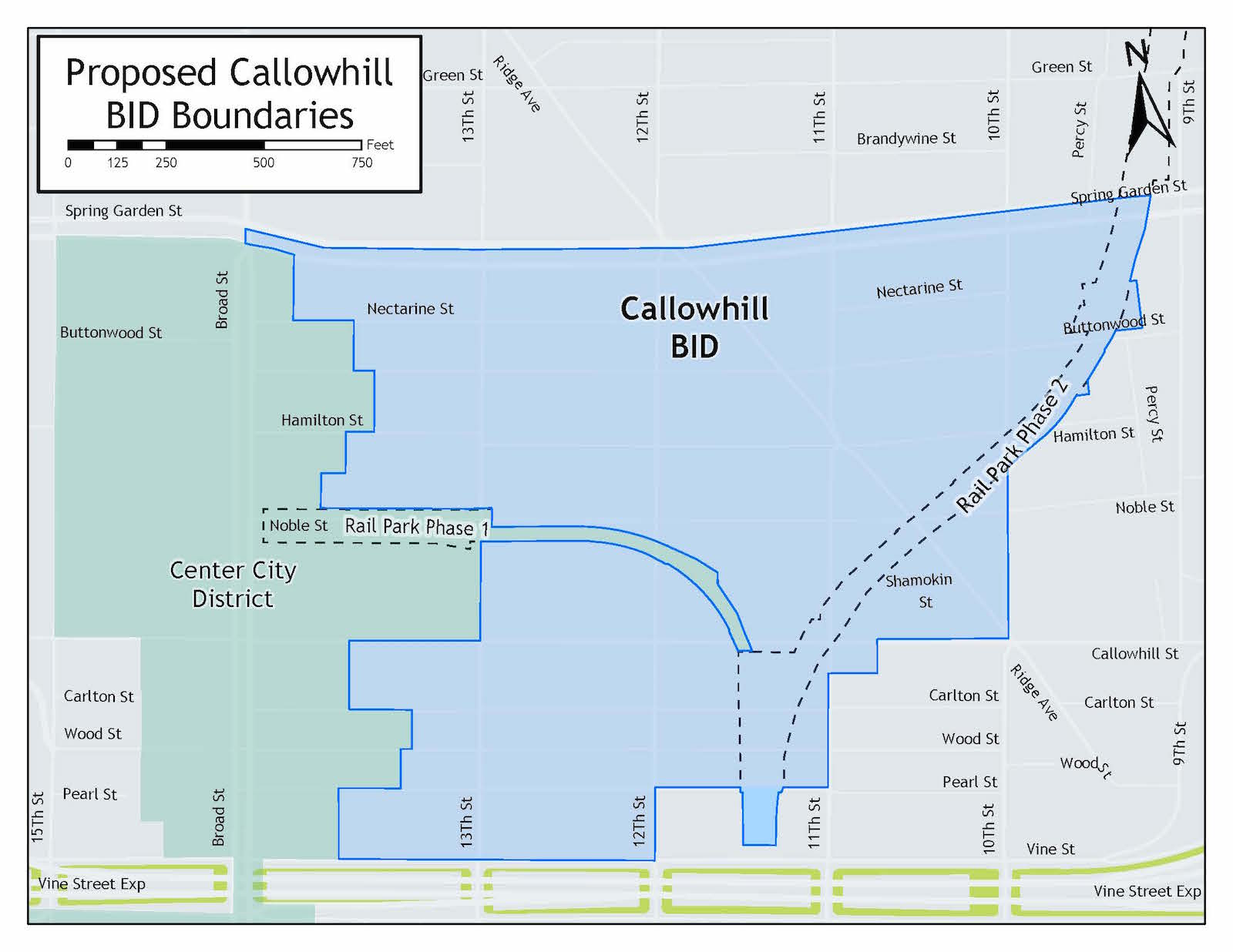 CALLOWHILL BID SERVICE AREA - The boundaries, also referred to as the service area, of the Callowhill BID is generally bounded by the south side of Spring Garden Street between the Rail Park and the back of the properties on the east side of North Broad Street on the northern side; the west side of the streets immediately to the east of the Rail Park on the east side; the north side of Vine Street between approximately 11th Street and the back of the properties on the east side of North Broad Street on the south side; and the back of the properties on the east side of North Broad Street between Spring Garden and Vine Streets on the west side. Please see the adjacent map for more information.For a full list of all properties within the boundaries of the Callowhill BID, click here.