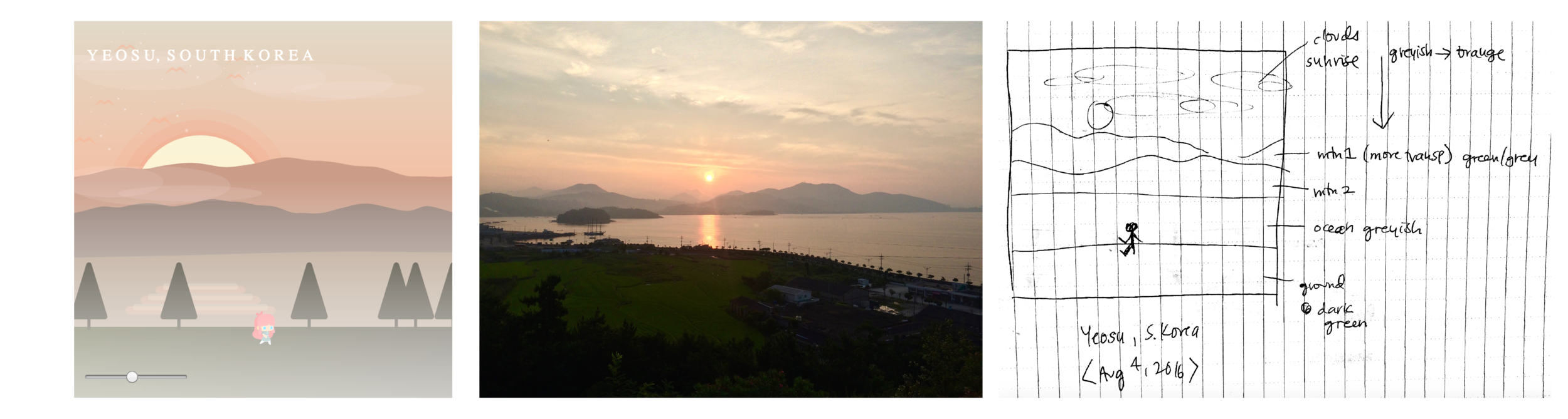 Scene 1 – Sunrise at Yeosu (Javascript, my photo, sketch)