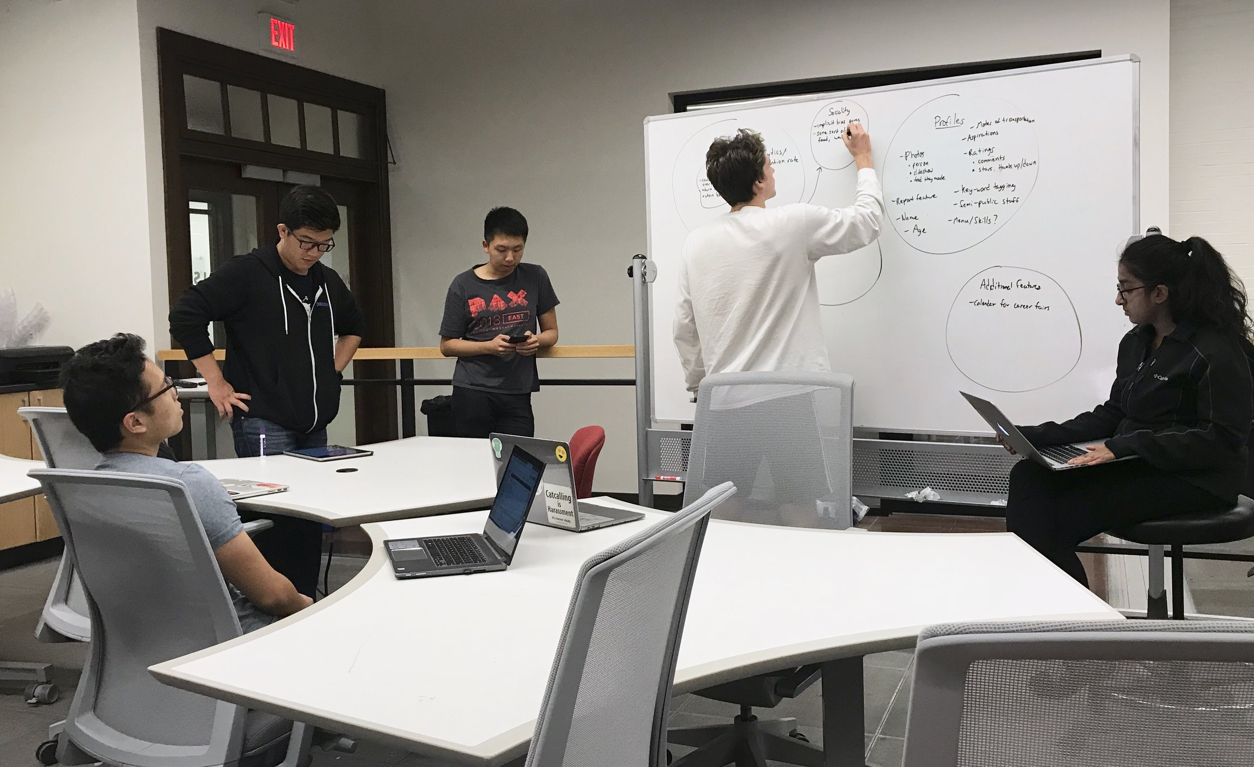 Feature generation white-boarding session, members looking at their screens to reference what they wrote, photo taken by me