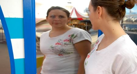 Body Dysmorphic Disorder: Woman in Funhouse Mirror